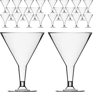 DecorRack 24 Martini Cocktail Glasses, Plastic Party Champagne Cups, Perfect for Outdoor Parties, Weddings, Picnics, Stack...