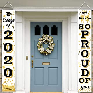 AOJOYS Graduation Porch Sign - Class of 2020 & We are So Proud of You Graduation Hanging Banner Set for Indoor & Outdoor - Front Door Wall Yard Graduation Party Decoration Signs