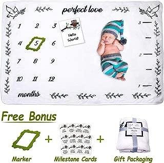 Baby Monthly Milestone Blanket,  Large Personalized Unisex 60