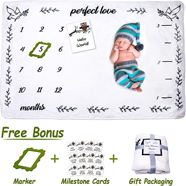 Inspire44 Baby Monthly Milestone Blanket Large Unisex 60 X40 Soft Fleece Photo Background Prop Growth Chart 12 Milestone Cards Frame Marker Newborn 12 Month Boy Girl