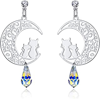 I'S ISAACSONG Sterling Silver Hypoallergenic Moon Cat Earrings, Aurora Borealis Crystal Dangle Drop Cat Earrings for Women and Girls