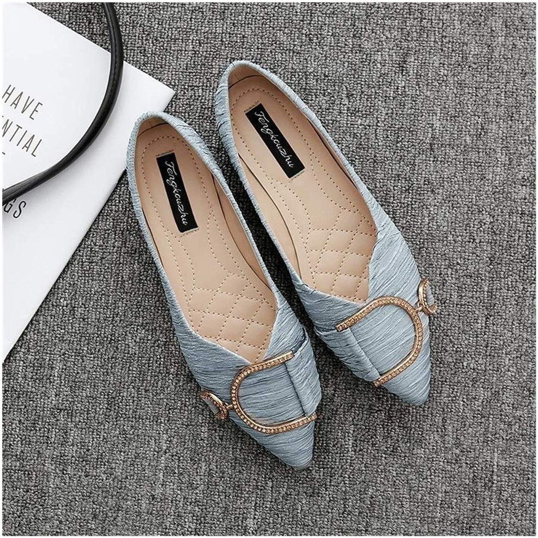 BAACHANG Spitz Flache Schuhe Flachem Mund Strass Satin Flach Mit Einzelnen Schuhen Quadratische Schnalle Low Heel Damenschuhe (Farbe   Blau grau, Größe   39)