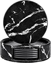 THIPOTEN Leather Coasters with Holder, 6 Pcs Coasters for Drinks with Black Marble Design, Protect Furniture from Water Marks Scratch and Damage(Black Marble, Round)