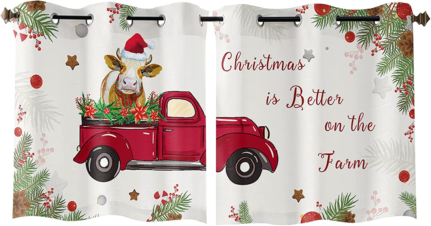 Grommet Window Ranking TOP17 Curtain Red Truck with Be Farmhouse Christmas Cow Popular overseas