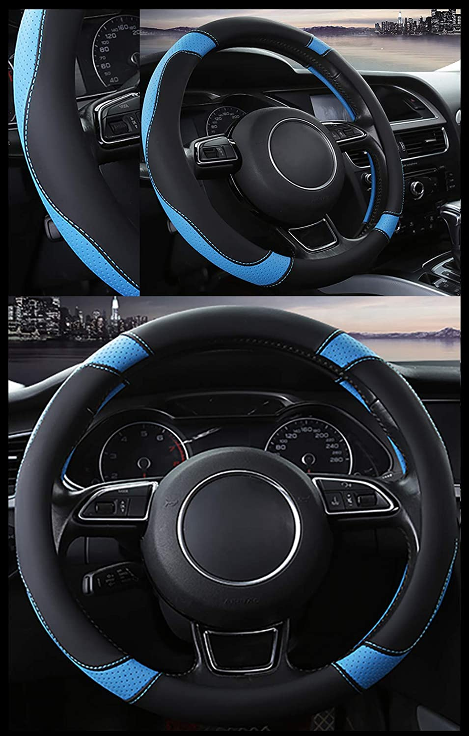 NEOBEAUTY Car Steering Wheel Cover Steering Wheel Protective Cover Microfiber Steering Wheel Cover Universal Size 37-38cm// 15 Inches Non-Slip Breathable and Durable Red Wine