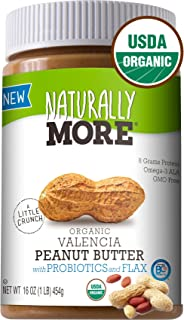 Naturally More 100% Organic Peanut Butter - All Natural Valencia Peanuts - Probiotic Infused-Premium Roasted Peanut Taste-Heart Healthy Flax - Vegan - Gluten Free - Plant Based 16oz
