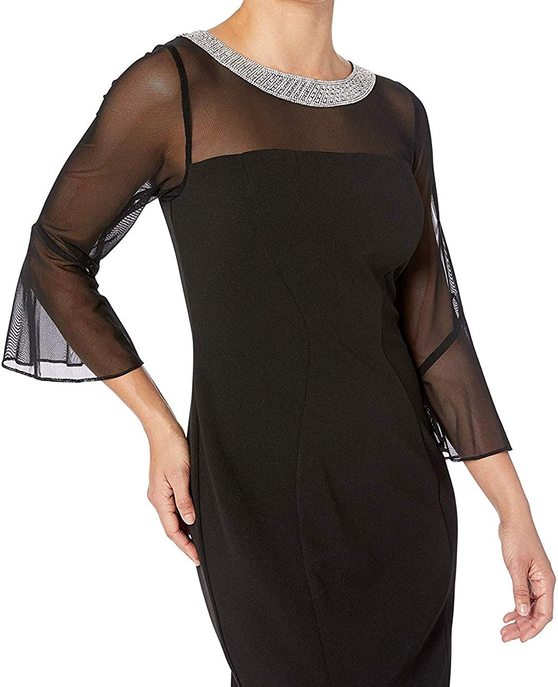 Alex Evenings Women's Short Shift Dress with Embellished Illusion Detail