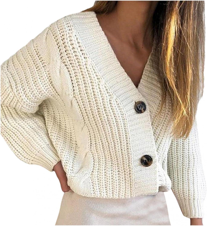 Hemlock Women V Neck Cardigans Sweaters Coat Buttons Long Sleeve Knit Sweater Top Outwear