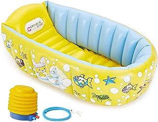 ベビーバス 赤ちゃんお風呂 ふかふかベビーバスタブ 空気入れポンプ付き 対象年齢0ヶ月~36ヶ月 イエロー