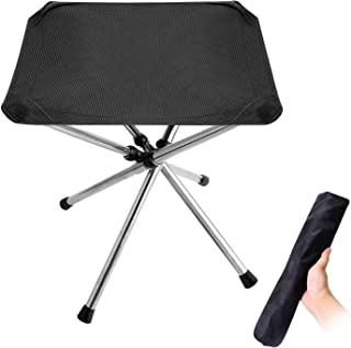 Folding Camping Stool,Portable Fishing Stool&Chair, Lightweight 1.4lbs Outdoor Slacker Chair for Backpacking, Hiking, BBQ, Picnic, Travel. 220lbs Capacity with Carry Bag
