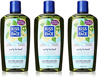 Kiss My Face Early-to-Bed Moisturizing Shower Gel, Bath and Body Wash, 16 oz (Pack of 3)