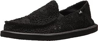 Sanuk Women's Donna Crochet Loafer Flat, Black