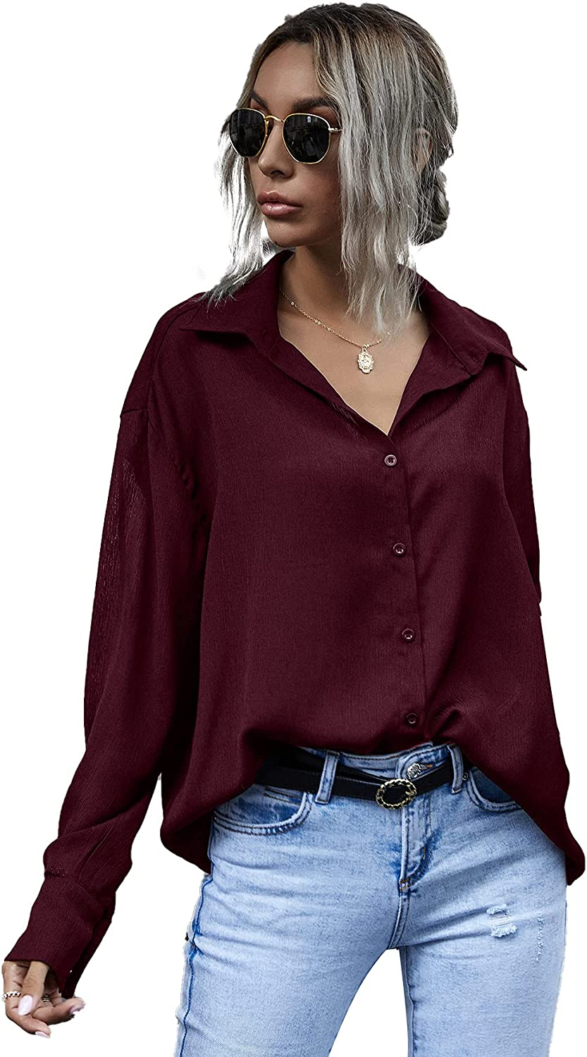 MakeMeChic Women's Button Down V Neck Shirts Long Sleeve Blouse Casual Work Tops