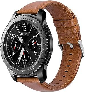 iBazal 22mm Correas Cuero Piel Pulseras Bandas Compatible con Samsung Galaxy Watch 46mmGear S3 Frontier ClassicHuawei GT/2 Classic/Honor MagicTicwatch Pro Hombre Band (Reloj No Incluido) - Marrón
