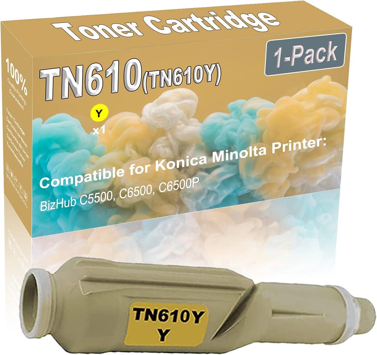 1-Pack (Yellow) Compatible High Yield TN610 (TN610Y) Printer Toner Cartridge use for Konica Minolta BizHub C5500 C6500 Printers