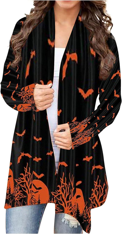 Women's Halloween Open Front Cardigan Shirt Long Sleeve Funny Pumpkin Black Cat Lightweight Coat Soft Outwear