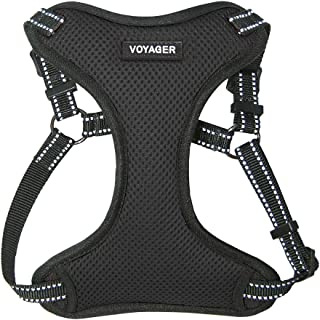 Voyager by Best Pet Supplies - Fully Adjustable Step-in Mesh Harness with Reflective 3M Piping (Black, Large)