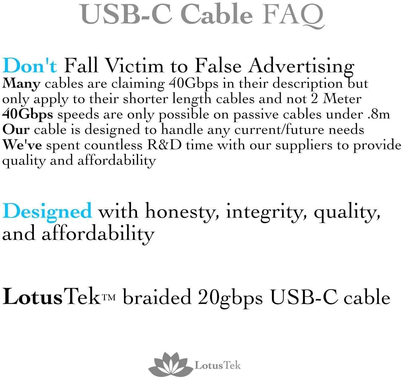 LotusTek   USB-C Cable   Braided USB Super Speed Certified   6.6ft 2M Long   100w Charging   Ipad Pro   Oculus Quest   Thunderbolt 3 & USB 4 Compatible   Fast Charge   USB C
