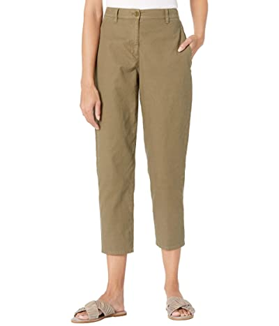 Eileen Fisher Organic Cotton Hemp Stretch Ankle Lantern Pants (Olive) Women