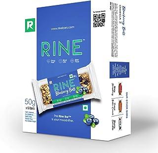 RINE Nutrition Bars |6 Blueberry Energy bars | Sugarfree healthy snacks |6 granola bars *50 g each ( 6 pack box)
