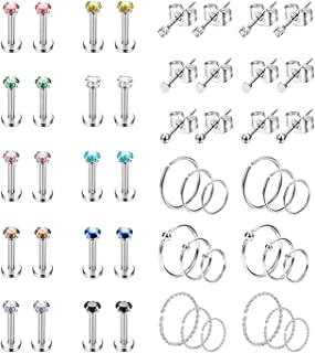 25Pairs Stainless Steel Cartilage Stud Earrings for Women Hoop Earrings CZ Ball Helix Tragus Daith Labret Lip Piercing