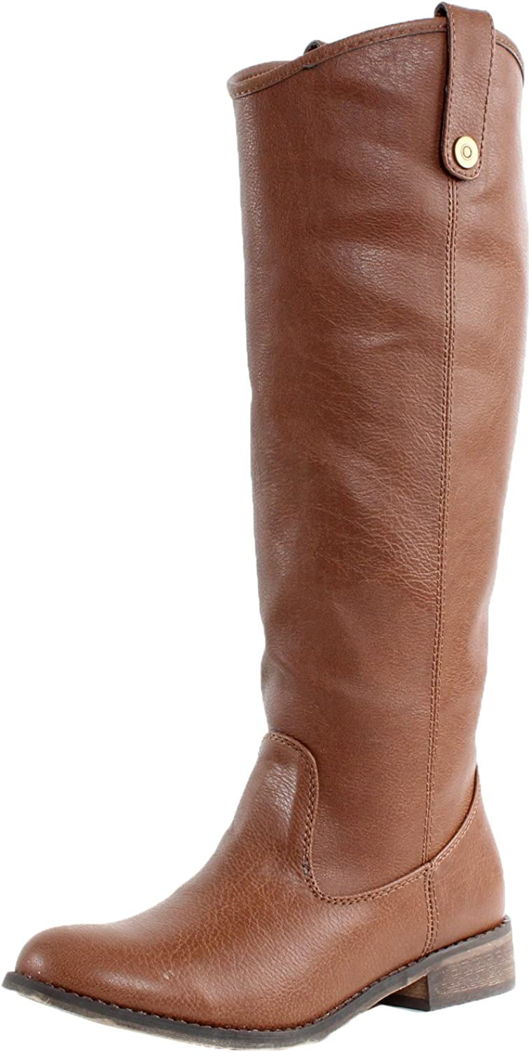 Breckelles AE45 Women Leatherette Round Toe Riding Knee High Boot - Tan