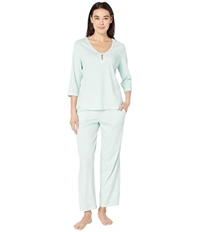 Karen Neuburger Petite Marie Antoinette 3/4 Sleeve Henley Long PJ (Diamond Mint) Women