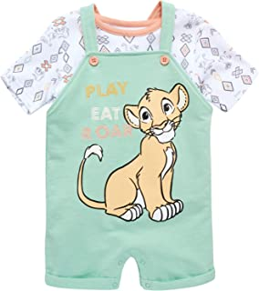 Disney Baby Boys' Overall T-Shirt Set Mickey Mouse, Lion King, Winnie The Pooh