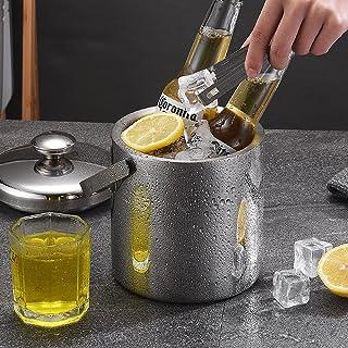 YeenGreen Seau a Champagne Inox, Seau a Glacons avec Couvercle, Seau à Glace Isotherme Seau à Glace en Acier Inoxydable av...