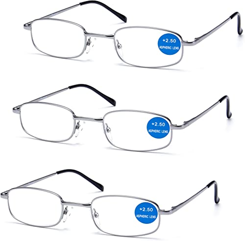 IMPECCABLE METAL frame and crystal clear vision - Viscare 3-Pack Men Women Metal Spring Hinged Full Frame Reading Gla...