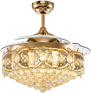Orillon 42 Inch Polished Crystal Gold Chandelier Retractable Ceiling Fan Light Remote for Indoor Living Room Bedroom Modern LED Lighting-Blades Adjust in Two Direction-3 Color Changing-6-Gear Speed