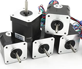 5Pcs Nema 17 Stepper Motor 40mm 64oz-in 45Ncm 1.7A 1.8 degree 2 phase with 1M 4-pin Cable & Connector Bipolar 42 stepping motor for 3D Printer Hobby CNC Router Machine 17HS4401J