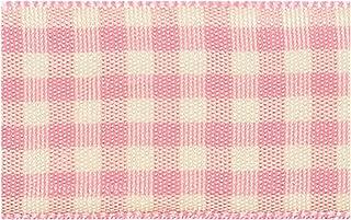 25mm x 20m Rose Pink Gingham Ribbon