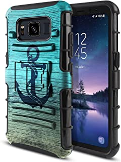 FINCIBO Case Compatible with Samsung Galaxy S8 Active G892A 5.8 inch, Dual Layer Hybrid Armor Protector Case Cover Stand TPU for Galaxy S8 Active (NOT FIT S8/ S8 Plus) - Blue Anchor Wood