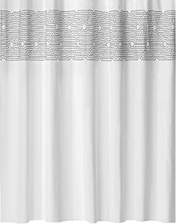 mDesign Embroidered 100% Cotton Shower Curtain, Decorative Soft Fabric, for Bathroom Showers and Bathtubs, Super Soft, Eas...