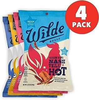 Chicken Chips Variety Pack By Wilde Brands   Chicken & Waffle, Himalayan Pink Salt, Nashville Hot, Sea Salt & Vinegar   2.25oz Bag (4Count)
