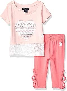 U.S. Polo Assn. Baby Girl's 2 Piece Aztec Heart T-Shirt and Legging Set Pants, Multi