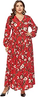 Women's Long Skirt, Large Size Long Sleeve Print Dress,Home Reception Party Party Bar Evening Dresses (Color : Red, Size : XXXXXL)