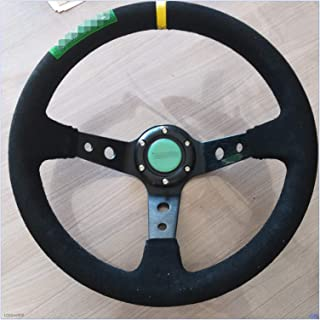 Greatly Store 350mm Black Leather Suede Deep Dish Car Steering Wheel Drift Racing Sport