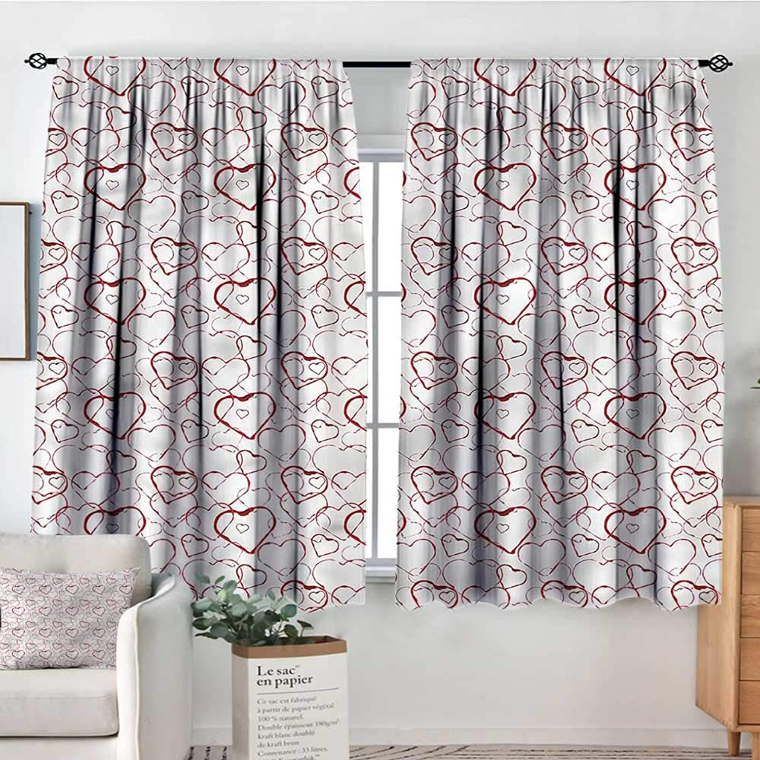 Sanring Hearts,Indo Shades Jumbled Design Contour Forms 52 x63  Patterned Drape for Gass Door
