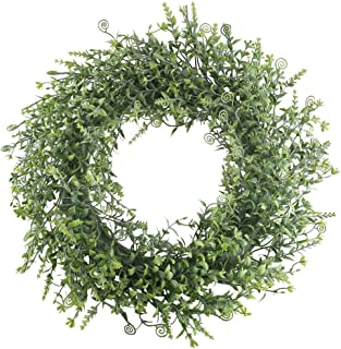 XYXCMOR Artificial Boxwood Wreath 18 inch GreeneryWreath for Front Door Farmhouse Decor Spring Wall Window Housewarming Gift Project