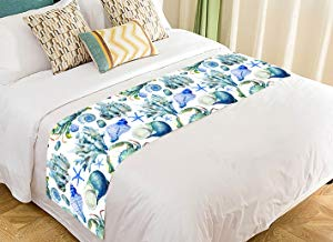 Custom Sea Ocean Watercolor Seashell Coral Crab Bed Runner Bedding Scarf Size 20x95 inches