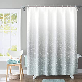 JRing Shower Curtain Polyester Fabric Machine Washable with 12 Hooks 72x72 Inch (Gradient Light Blue)