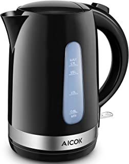 Electric Kettle Aicok Lightweight Electric Tea Kettle, 1500W Ultra Fast Water Kettle, 100% BPA Free, 1.7L Cordless Hot Water Boiler with Boil Dry Protection and Auto Shut Off