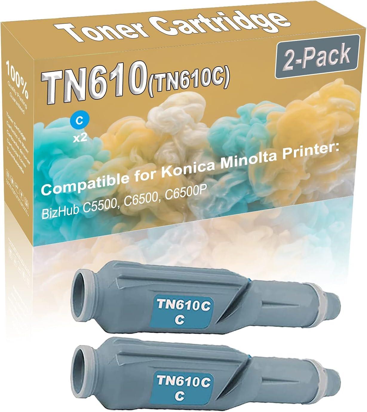 2-Pack (Cyan) Compatible BizHub C5500 C6500 Laser Printer Toner Cartridge (High Capacity) Replacement for Konica Minolta TN610 (TN610C) Printer Toner Cartridge