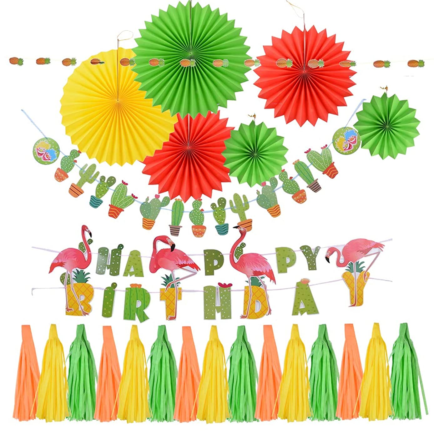 JuneJour Flamingo Birthday Party Supplies Flamingo Birthday Decorations Set with Flamingo Birthday Banner, Cactus Banner, Tissue Paper Tassel Garland, Hanging Paper Fans (24 Pack)