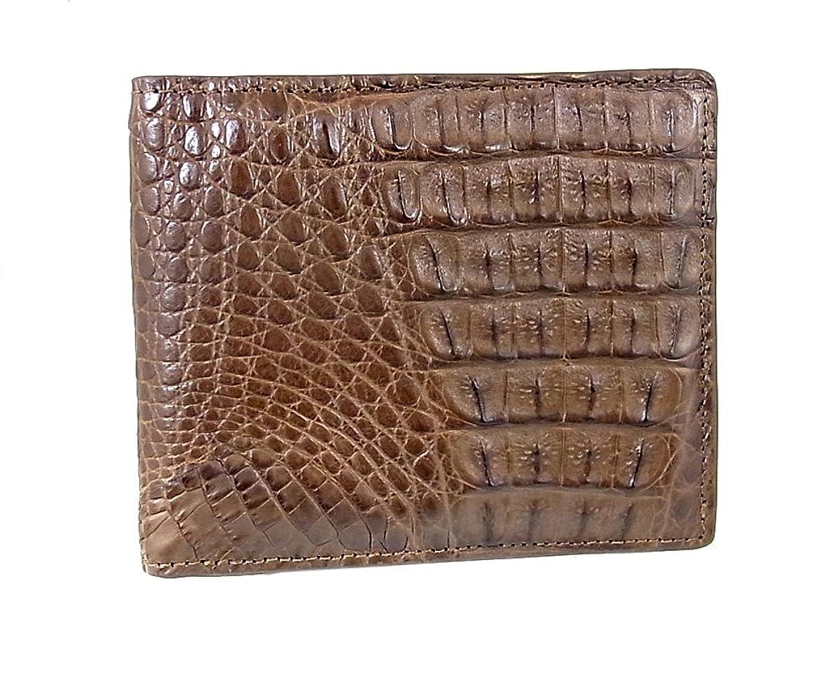 日付付き伝統的手つかずのspcw8007cp-BR 二つ折短財布 天然クロコダイル カイマン種 短財布 ゴダン GODANE