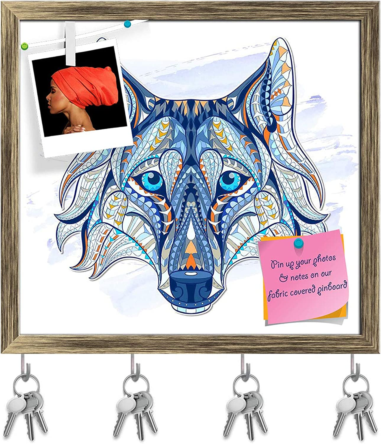 Artzfolio Head of The Wolf Key Holder Hooks   Notice Pin Board   Antique golden Frame 17.3 X 16Inch