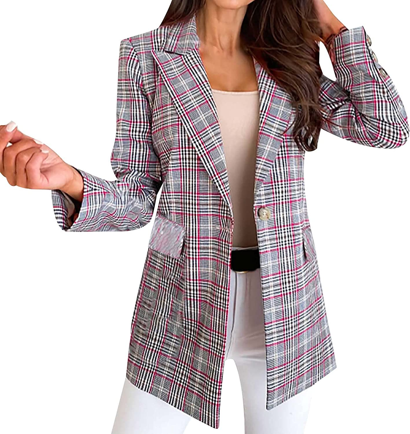 Womens Plaid Single Breasted Blazer Business Casual Plus Size Fitted Suit Jackets Long Sleeve Fall Stylish Lapel Coat