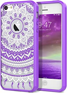 iPhone 5 5S Case, iPhone SE Case, SmartLegend Retro Totem Mandala Floral Pattern Clear Acrylic PC Hard Back Cover with TPU Bumper Frame Hybrid Transparent Protective Case for iPhone 5 5S SE - Purple